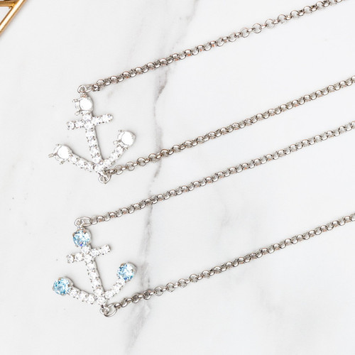 6mm | Anchor Crystal Rhinestone Off Center Necklace | One Piece