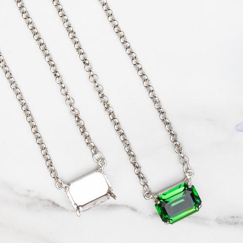 18mm x 13mm Octagon   Sideways Pendant Necklace   One Piece