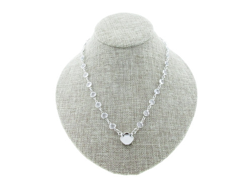 12mm Square Cushion Cut Single Pendant Empty Necklace With Channel Chain