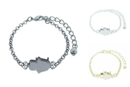 18mm x 13.7mm Hamsa Fatima Hand Empty Setting Bracelet Small Smooth Rolo Chain