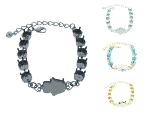 8.5mm & 18mm x 13.7mm Hamsa | Eleven Setting Bracelet | One Piece