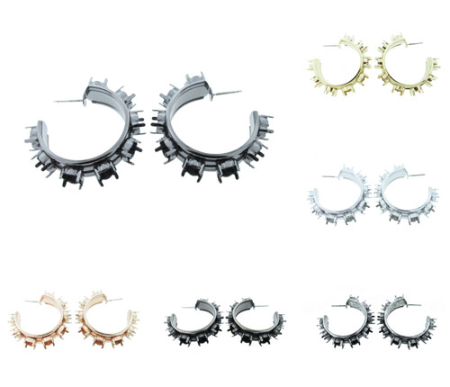 6mm Eight Setting Hoop Earring