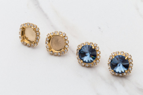 12mm Round | Crystal Halo Stud Earrings | One Pair