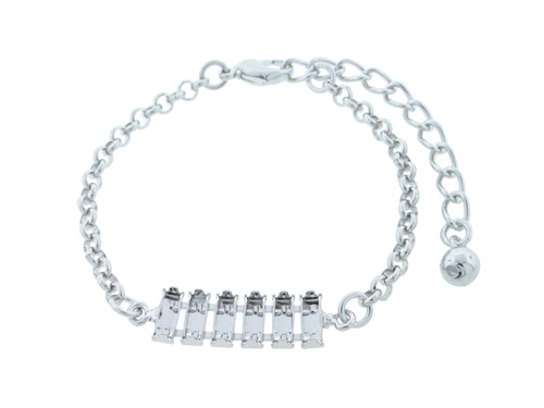 7mm x 3mm Baguette 6 Box Empty Bracelet With Small Smooth Rolo Rhodium for swarovski