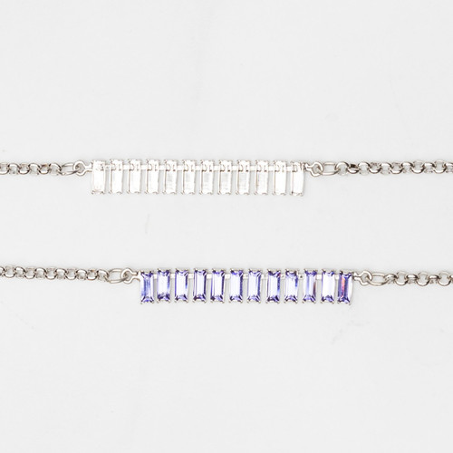 7mm x 3mm Baguette | Classic 12 Setting Necklace | One Piece