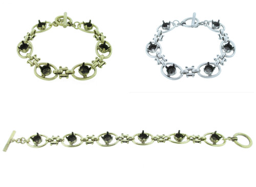 Chunky Statement Bracelet With Six 8.5mm (39ss) Empty Settings for swarovski crystals