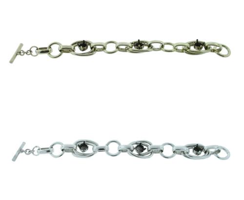 Chunky Statement Bracelet With Three 8.5mm (39ss) Empty Settings for swarovski