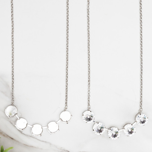 18mm Round | Classic Five Setting Necklace | One Piece