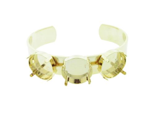 18mm Rivoli Round 3 Box Empty Cuff Bracelet in Gold Overlay