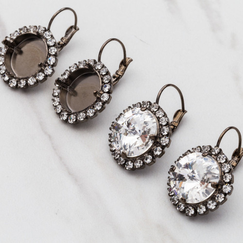 14mm Round Crystal Halo Drop Earring