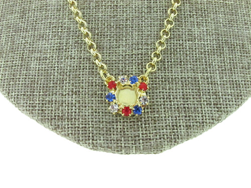 8.5mm (39ss) Single Pendant With Red, White, And Blue Rhinestone Crystals Empty Necklace Small Smooth Rolo Chain detail