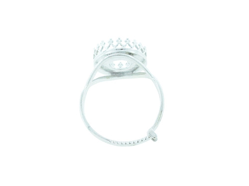 12mm Rivoli Round Crown Open Back Adjustable Ring In Silver Overlay