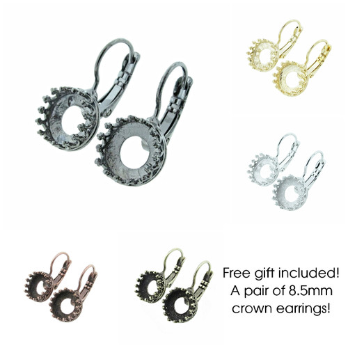 Free gift included to give to a friend or family member or keep for yourself! A pair of 8.5mm crown lever back earrings!