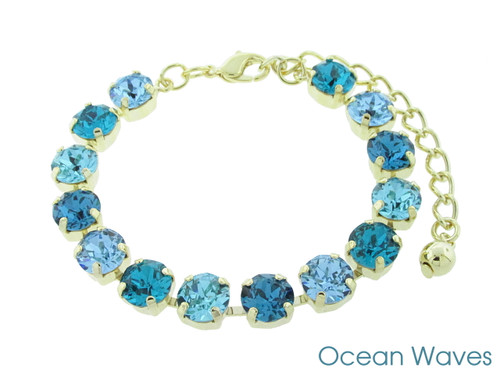 Ocean Waves color collection shown on the 8.5mm 14 box bracelet in gold overlay