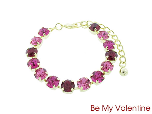 Be My Valentine color collection shown on the 8.5mm 14 box bracelet in gold overlay