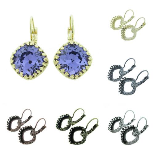 12mm Square Crown Drop Earrings