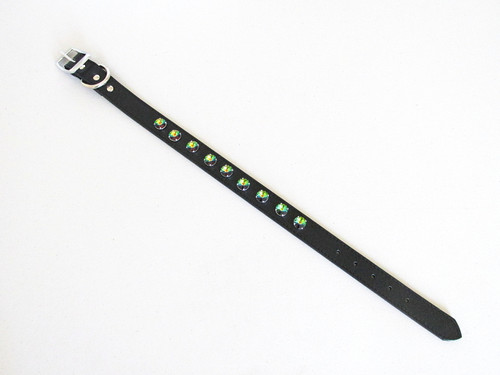 Twenty-Two Inch Leather Dog Collar With Nine 14mm Rivoli Round Rhodium Riveted Empty Settings shown with Swarovski crystals