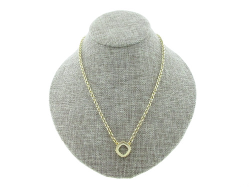 12mm Square Cushion Cut Crown Open Back Single Pendant Necklace