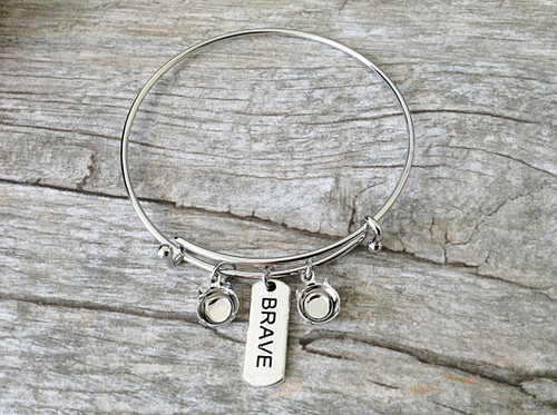 Brave Charm With Two 8.5mm (39ss) Empty Settings On An Expandable Bracelet