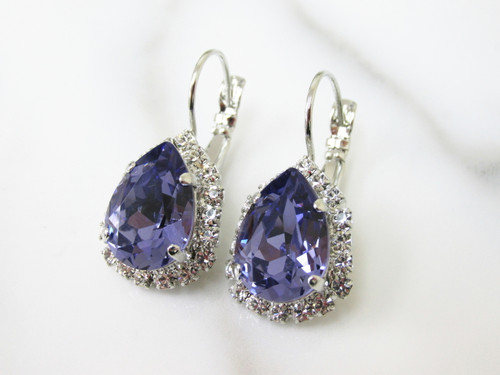14x10mm Pear Lever Back Crystal Surround Empty Earrings