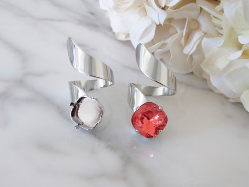 12mm Square   Spiral Band Adjustable Ring   Three Pieces