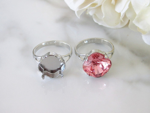 12mm Square   Classic Band Adjustable Ring   Three Pieces