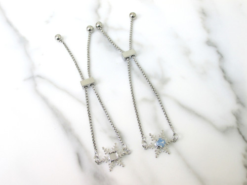 6mm | Snowflake Adjustable Slider Bracelet | One Piece