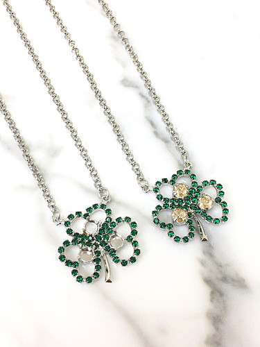 6mm | Three Setting Shamrock Rhinestone Necklace | One Piece