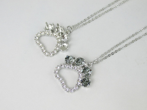 6mm | Paw Print Crystal Rhinestone Necklace | One Piece