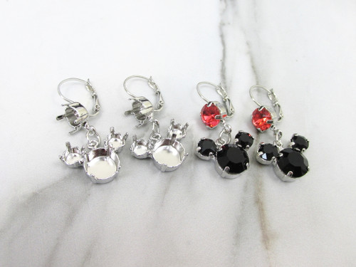 8.5mm, 6mm, & 11mm | Mouse Dangle Earrings | One Pair