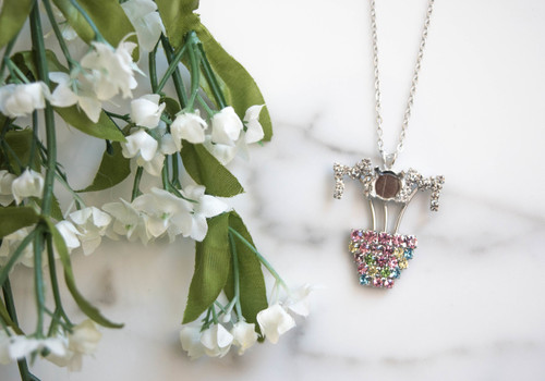 Mom Flower Pot Pendant Necklace with One 8.5mm Empty Cup