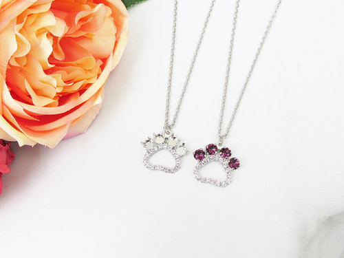 6mm | Paw Print Crystal Rhinestone Long 30 Inch Necklace | One Piece