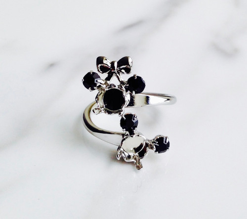 Small Girl and Boy Mouse Two Setting Adjustable Ring