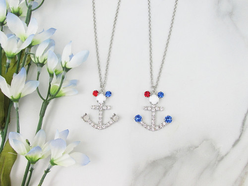 6mm | Patriotic Boy Mouse Anchor Crystal Rhinestone 30 Inch Necklace | One Piece