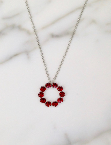The Unity Necklace made with Swarovski Ruby Crystals