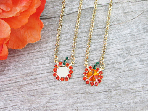 11mm | Pumpkin Crystal Rhinestone Necklace | One Piece