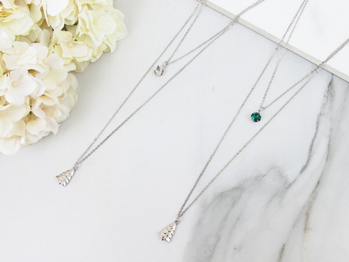 8.5mm | Layered Christmas Tree Charm Necklace | One Piece
