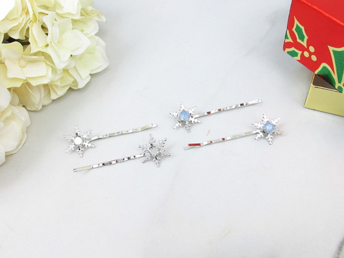 6mm | Snowflake Bobby Pins | One Pair