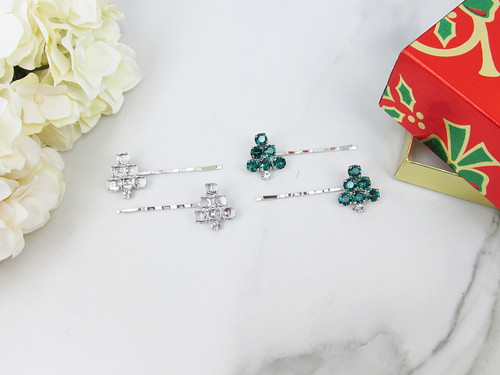 6mm | Christmas Tree Bobby Pins | One Pair