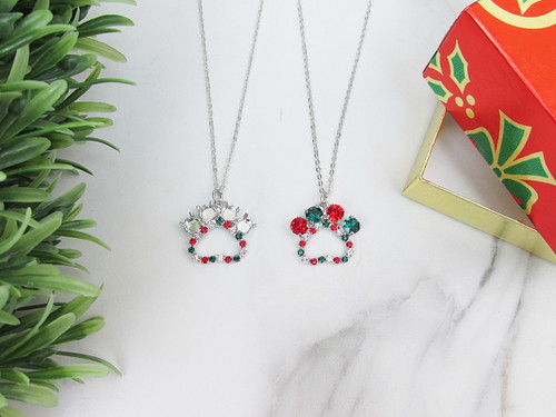 6mm | Christmas Paw Print Crystal Rhinestone Necklace | One Piece