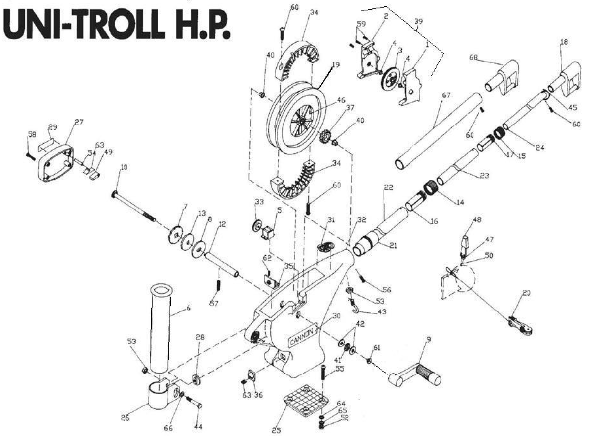 Order Cannon Uni Troll Hp Manual Downrigger Parts From Holster Replacement Motor Repalcement And Diagram Expand Product