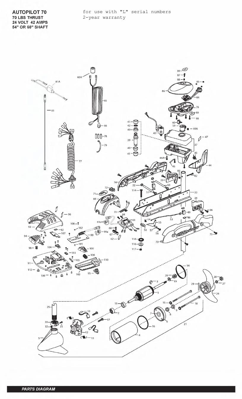 Minn Kota AutoPilot V2 70 Parts - 2011