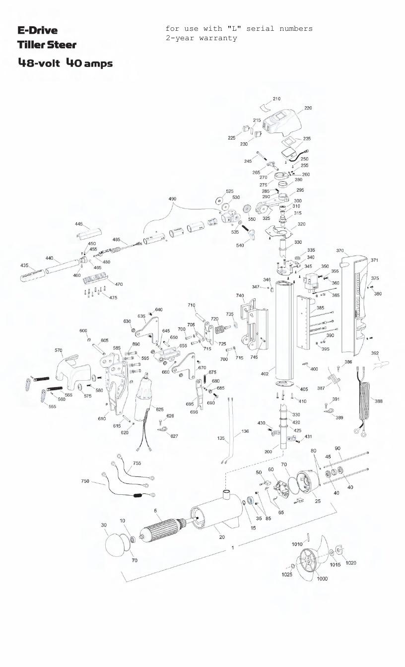 Minn Kota E-Drive Tiller Parts - 2011