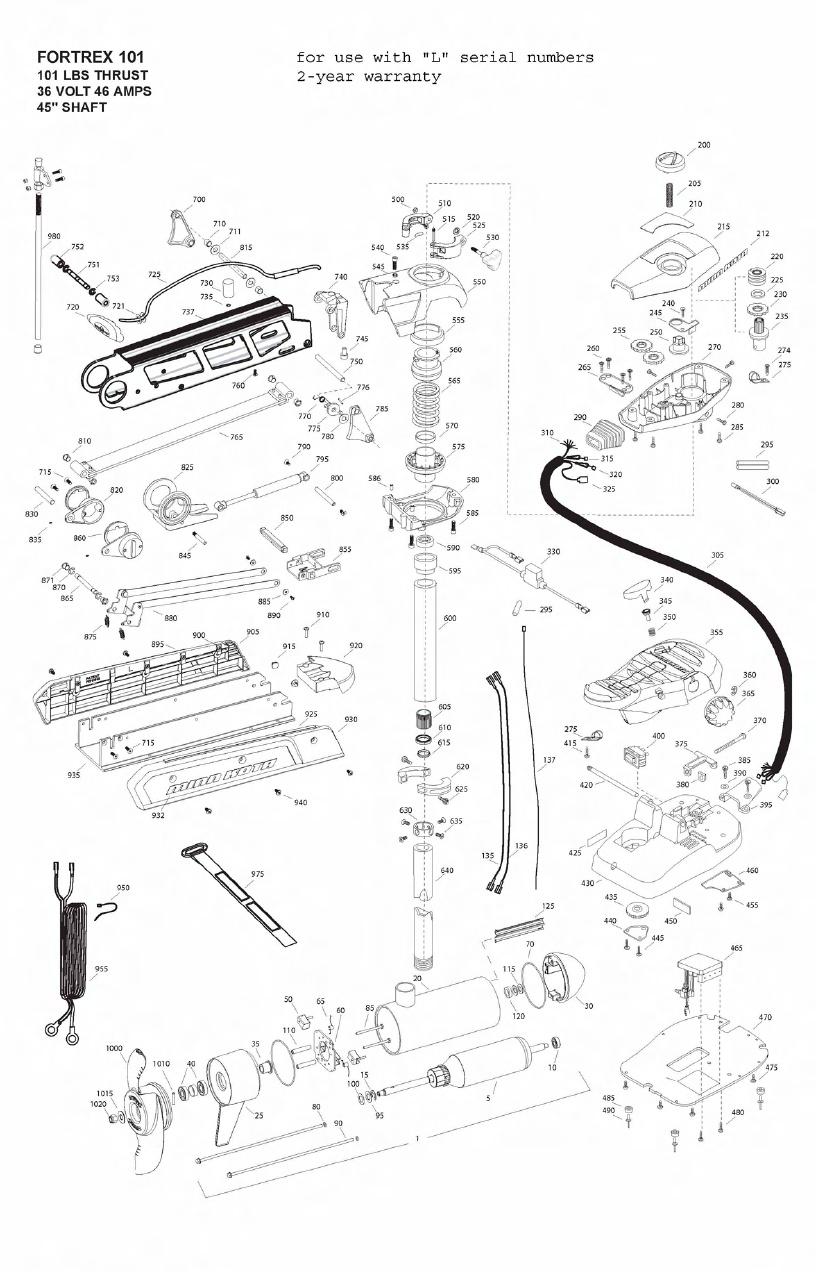 Minn Kota Fortrex 101 (45 Inch) Parts - 2011