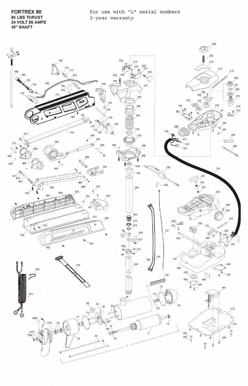 Minn Kota Fortrex 80 (45 Inch) Parts - 2011