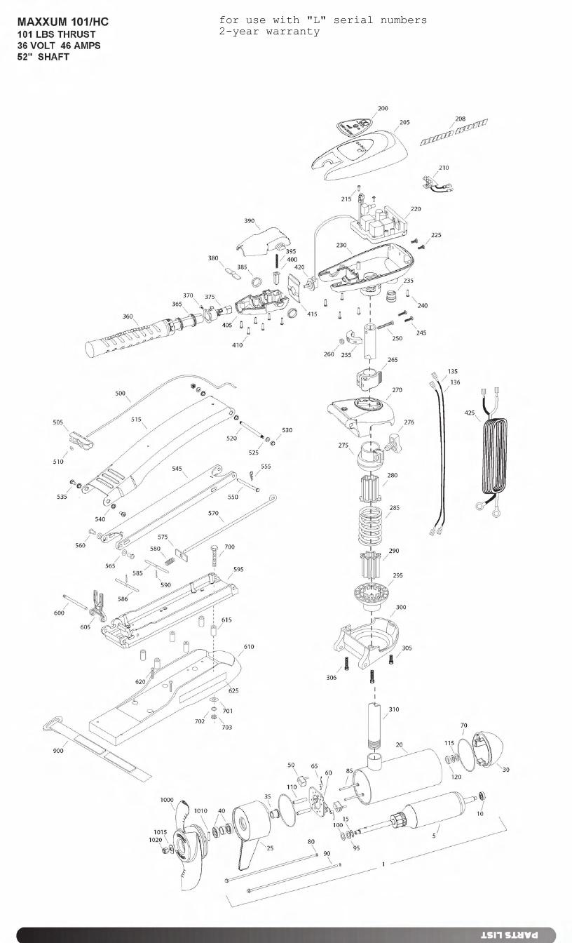 Minn Kota Max 101 Hand Control Parts - 2011
