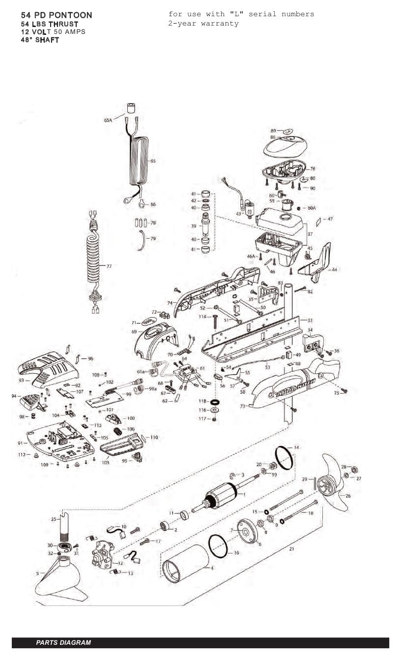 Minn Kota Pontoon V2 54 Parts - 2011