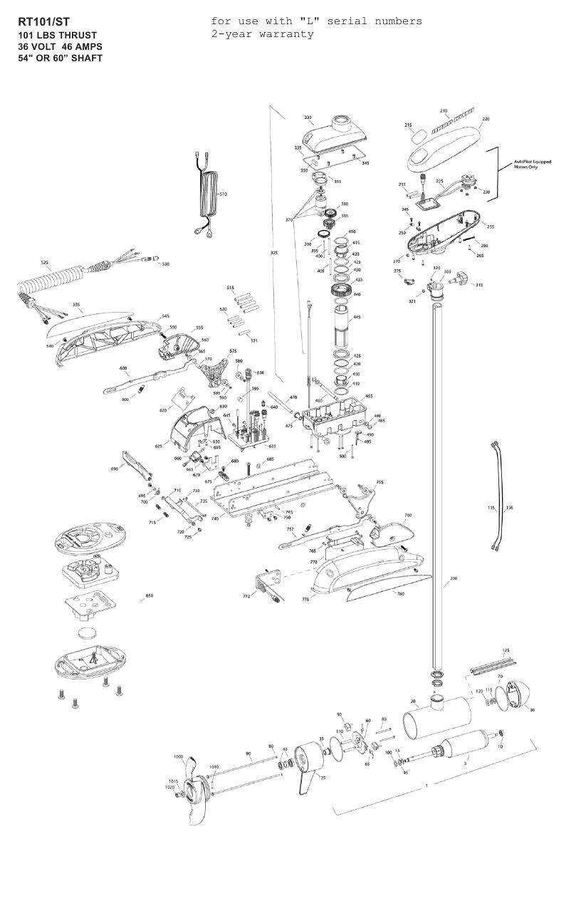 Minn Kota Riptide 101 ST Parts - 2011