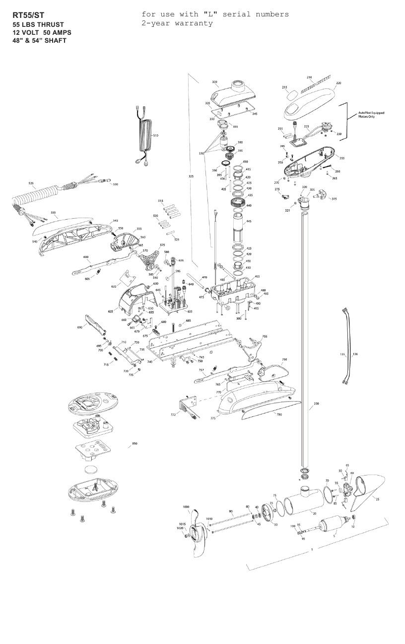 Minn Kota Riptide 55 ST Parts - 2011