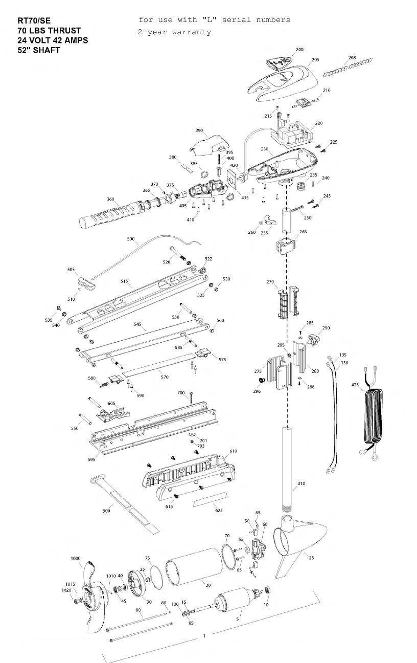 Minn Kota Riptide 70 SE Parts - 2011